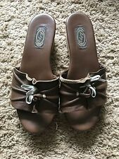 Previously Loved Salpy Hand Made Wedge Brown Leather Slide Sandals Size 7M