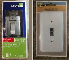New Hampton Bay Devon White Light Switch Cover and Leviton 15/20A Switch