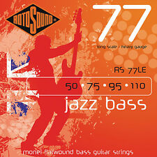 Rotosound RS77LE Monel Flatwound Jazz Bass Guitar Strings 50-110