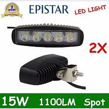 2X 15W EPISTAR 6''INCH LED LIGHT BAR SPOT STRIP SINGLE ROW WORK LAMP OFFROAD UTE