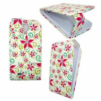 For Samsung Galaxy S4 Mini White Case Red Green Flowers Flip Pu Leather Case