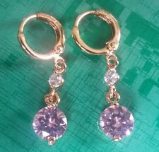 L04 Pink & white sapphire, 18k gold gf hoop & dangle earrings BOXED Plum UK