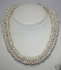 """eli k Womens  Fresh Water White Pearl 6/7 Row All Around 16"""" Necklace"""
