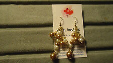 Handmade Very Pretty Dangle Glass Pearl Earrings with Gold Tone Wire