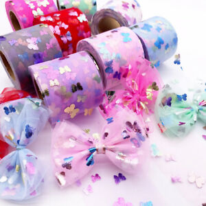 25 Yards Butterfly Tulle Organza Mesh DIY Gift Wrapping Tulle Ribbon Supplies