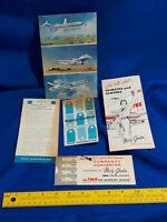 Vintage LOT Airplane Advertising Brochure TWA Pan American Delta Currency