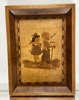 VTG. Marquetry Wood Inlay Picture Rare 1940's Folk Art Tramp Art Wall Decor.