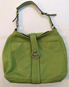 Ann Taylor Large Green Leather Shoulder Bag Purse