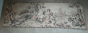 """Vintage Wall Tapestry 56"""" X 17""""  colors, children, outdoors, unframed"""