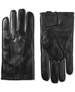 Isotoner Mens Winter Gloves Black US Size Medium M Touch Screen Leather $80 #381