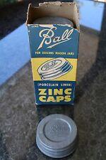 One (1) Vintage Ball Mason Jar Porcelain Lined Zinc Cap Lid New NOS
