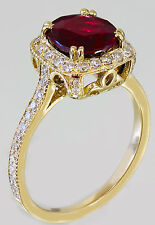 18k Yellow Gold Round Cut Ruby And Diamond Antique Design Halo Deco Ring 2.95ctw