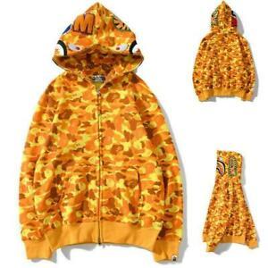 Bape A Bathing Ape Shark Head Orange Camo Hoodie Hooded Jacket Full Zipper Coat