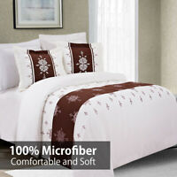 Eleanor Luxury 3PC Embroidered Duvet Cover Set- 100% Microfiber Comfortable