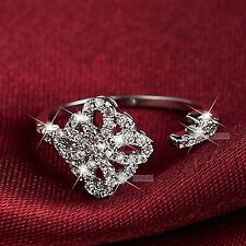18K White Gold Plated women's wedding between finger open Ring Simulated Diamond