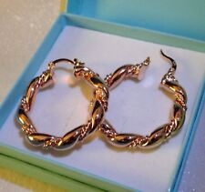 Womens18k AAA vintage style Rose gold filled twisted hoop earrings, Gift / UK
