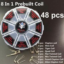 48Pcs 8in1 Box Set RDA RBA RTA DIY Vape Coils Premade Heater Wire Prebuilt Coil