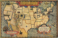 1920 USA United States of America Map Vintage Look Historic Wall Art Poster