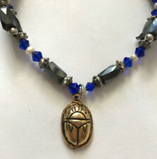 Hematite Magnetic Bracelet Anklet Gold Tone Scarab  Amulet Pearls Blue Beads
