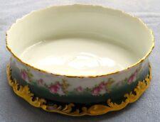 T&V Limoges France Depose Large Centerpiece Bowl Ring of Roses & Heavy Gold Trim