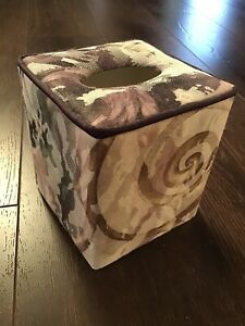 Croscill Chambord Cassis Amethyst Floral Rose Fabric Tissue Box Holder Cover