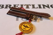 100% Genuine Authentic New Breitling Brown Calf Leather Tang Buckle Strap 14-12m