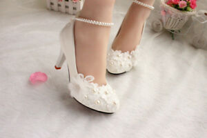 Lace Pearls Formal Wedding shoes Bridal flats low high heel pump wedge size 5-12