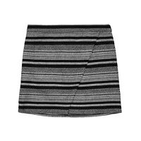 New J CREW Womens 4 Black White Tweed Faux Wrap Mini Skirt nwt Small