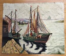 Vintage Hooked Rug Ships & More Wall Hanging