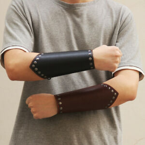 Unisex Leather Wristband Armband Wide Medieval Bracers Arm Armor Cuff