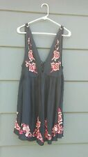 Free People Aida Embroidered Babydoll Dress *Large* Navy nwts