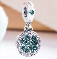 Silver Charm Dazzling Lucky Four-leaf Clover With Green Crystal Pendant