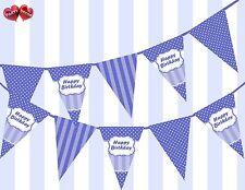 Brilliant Blue Happy Birthday Sign Vintage Polka Dots Theme Bunting Banner UK