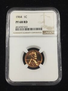 1964 PROOF LINCOLN CENT  NGC PF 68 RD   FREE SHIPPING