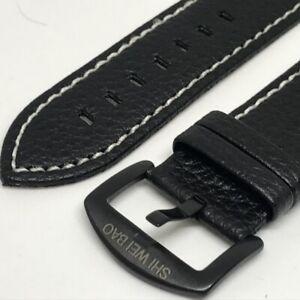 24mm black watch band good quality. imitation leather
