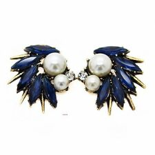ZARA ELEGANT WHITE PEARLS BLUE GOLD SPIKES STUD EARRINGS - NEW