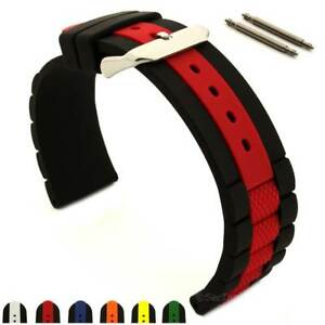 Silicone Rubber Waterproof Watch Strap Band SS. Buckle 20 22 24 Forte MM