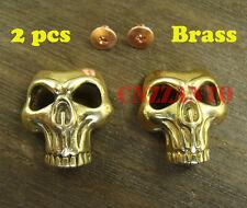 2pcs Brass Leathercraft Skull rivet stud Punk screw back Conchos Fob Wallet Z229