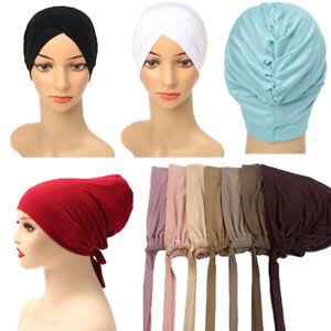 Women Modal Tie Back Hijabs Cotton Cross Turban Elastic Underscarf Solid Muslim
