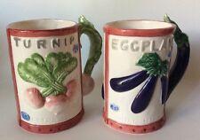 Vtg Fitz & Floyd Omnibus Seeds of Spring Packet Figural Mugs Eggplant Turnip