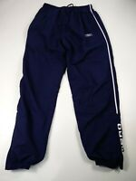 WOMENS UMBRO LARGE NAVY BLUE DRAWSTRING MESH LINED TRACK PANTS SPORTS TROUSERS