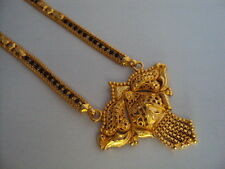 "Black-beaded Gold Plated Wedding Bridal Mangalsutra (24"")."