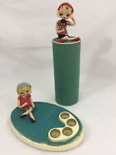 Vtg Mc Lipstick Tray Cosmetic Set Hairspray Cover With Cloth Fancy Doll Japan
