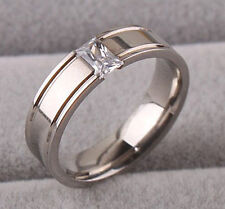 5pcs Titanium Stainless Steel Plain Ring CZ Silver Wedding Men Women Gift