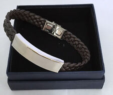 Bracelet Unisex Brown Woven Leather 1cm width Stainless Steel Bar Engraved FOC