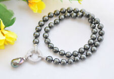 "Round shell Pearl Necklace Pendant Cz P7682 21"" 22mm Black Keshi &"