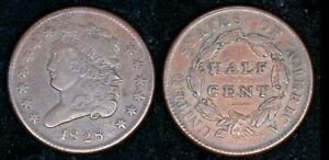 1828 Classic Head Half Cent 13 Stars Copper Half Penny Early U.S. Coin