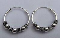 Paire Argent Sterling ( 925 ) Bali Boules Boucles D'oreilles Créoles 16 mm neuf