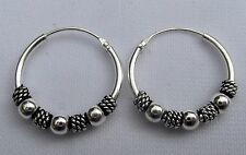Pair Of Sterling Silver ( 925 ) Bali  Balls  Hoop Earrings 16 mm  !!     New !!