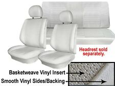 VW Seat Upholstery, Full Set, Black Basketweave Vinyl, Super Beetle Cvt 1977-79